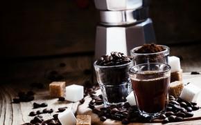 Картинка стакан, кофе, напиток, кофейные зерна