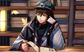 Картинка аниме, книга, парень
