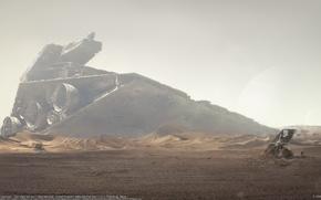 Картинка планета, космический корабль, star wars fan art, crashed star destroyer
