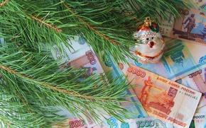 Картинка ветки, игрушка, деньги, ель, рубли
