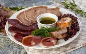 Картинка мясо, соус, нарезка, ветчина, бастурма