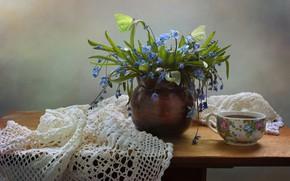 Картинка чай, натюрморт, Весенние цветы