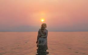 Картинка девушка, солнце, озеро, Lichon, Okanagan