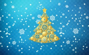 Картинка Зима, Минимализм, Снег, Новый Год, Рождество, Снежинки, Фон, Елка, Праздник, Ёлка, Механизм, Шестеренки