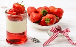 Картинка ягоды, завтрак, клубника, крем, десерт, panna cotta, Oleg Bannikov