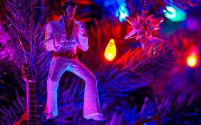 Картинка огни, праздник, игрушка, елка, гирлянда, Elvis Presley