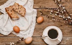 Картинка цветы, ветки, кофе, яйца, Пасха, чашка, кулич, wood, flowers, spring, Easter, eggs, decoration, Happy