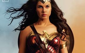 Картинка girl, Wonder Woman, armor, brunette, shield, Diana