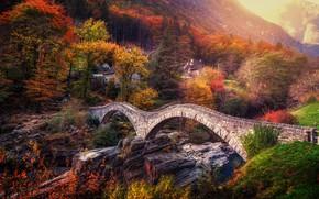 Обои Швейцария, Альпы, Switzerland, Ponte dei Salti, Alps, Verzasca River, осень, Лавертеццо, река Верзаска, Тичино, Ticino, ...
