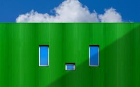 Картинка стена, окна, зелёный