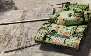 Обои MARINA, Т-55А, рисунок, советский средний танк, основной боевой танк