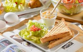Картинка яйца, бутерброд, салат, тосты