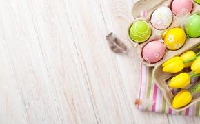 Картинка Пасха, тюльпаны, yellow, wood, tulips, spring, Easter, eggs, decoration, Happy, tender, яйца крашеные