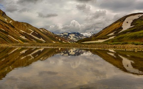 Картинка горы, озеро, отражение, Исландия