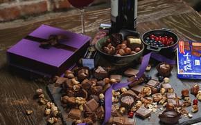 Картинка ягоды, вино, шоколад, конфеты