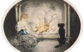Картинка кот, собака, Золушка, 1927, у костра, Louis Icart, арт-деко