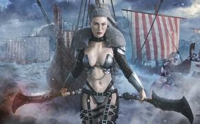 Обои корабли, женщина, Valkyria, оружие