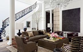 Картинка living room, villa, luxury, stairs, steps