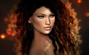 Обои прическа, девушка, кудри, ренденинг, темный фон, макияж