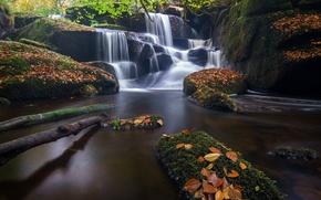 Картинка осень, листья, река, камни, Франция, водопад, каскад, France, Brittany, Бретань, Saint-Herbot