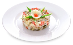Картинка овощи, декор, салат, оливье