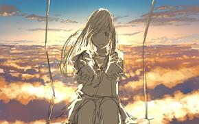Картинка небо, девушка, качели