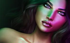 Картинка взгляд, девушка, лицо, волосы