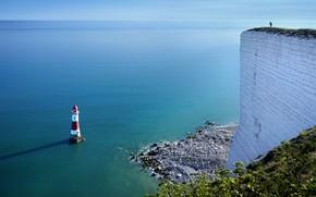 Картинка море, берег, маяк, England, United Kingdom, Beachy Head