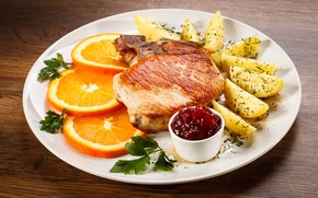 Картинка апельсин, тарелка, мясо, картофель