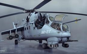 Картинка вертолёт, вид спереди, Mil mi24
