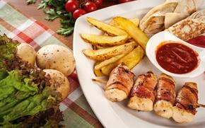 Картинка мясо, овощи, кетчуп, картофель, лаваш, закуски