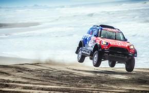 Картинка Песок, Море, Пляж, Mini, Спорт, Скорость, Гонка, Rally, Dakar, Дакар, Внедорожник, Ралли, X-Raid Team, MINI …