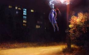 Картинка девушка, ночь, улица, дым, дома, фэнтези, парит, by LusiusMalfoy