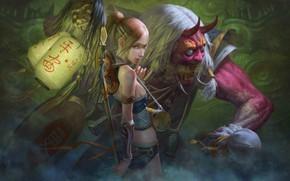 Картинка looking at viewer, Demons, girl, spear, horns, green eyes, looking back, warrior, fantasy, artwork, digital ...