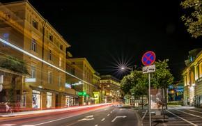 Картинка дорога, ночь, улица, дома, выдержка, night, roads, street, Хорватия, Croatia, Opatija