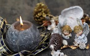 Картинка праздник, новый год, свеча, ангел, декор