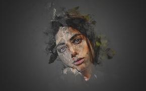 Картинка girl, green eyes, model, pretty, photoshop, Samira Mahboub