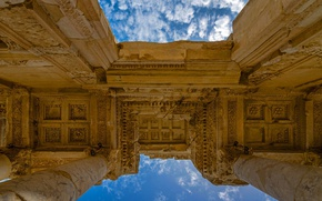 Картинка небо, руины, архитектура, Турция, Эфес, библиотека Цельса