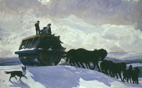 Картинка картина, жанровая, Rockwell Kent, Рокуэлл Кент, Дорожный Каток