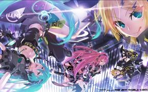 Картинка аниме, Vocaloid, Вокалоид, персонажи, Кагомине Лен, Кагомине Рин