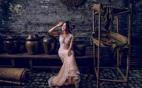 Картинка поза, настроение, платье, азиатка