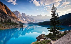 Картинка landscape, mountains, lake, pines