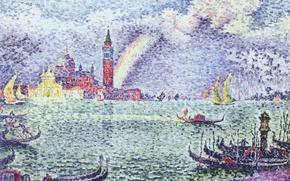 Картинка пейзаж, картина, Поль Синьяк, пуантилизм, Венеция. Радуга