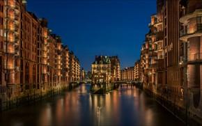 Картинка ночь, огни, дома, Германия, канал, Гамбург