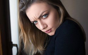 Картинка girl, photographer, blue eyes, model, mood, face, feeling, anger, Angry, Dmitry Sn, frowning