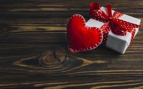 Картинка Подарок, сердечко, Праздник, фон, День влюбленных