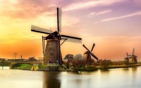 Картинка канал, Нидерланды, ветряная мельница