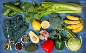 Обои бананы, изюм, лимоны, фрукты, огурцы, листья, капуста, авокадо, овощи, перец