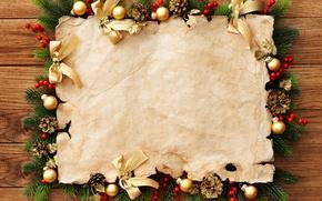 Картинка шарики, украшения, праздник, Новый год, открытка, веточки ели
