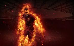 Картинка wallpaper, sport, fire, stadium, football, player, AS Roma, Stadio Olimpico, Kevin Strootman